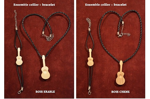 "Ensemble bracelet + collier ""Guitare creuse"""