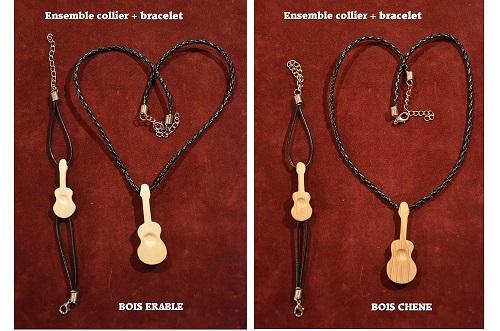 collier guitare + bracelet guitare